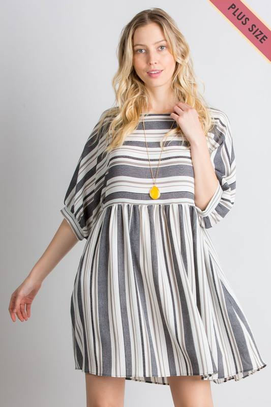 Striped Quarter Sleeve Dress +