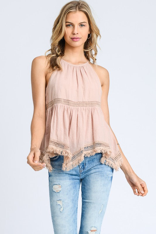 Sleeveless Lace Trim Tank