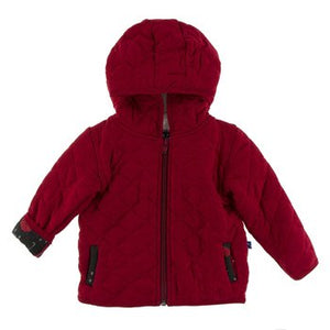 Sherpa-Lined Hood Candy apple with Umbrellas & Rain Clouds Kickee Pants