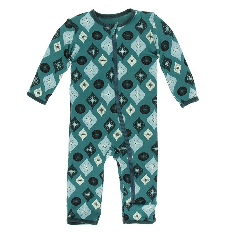 Kickee Pants Cedar Vintage Ornaments Print Coverall with Snaps.