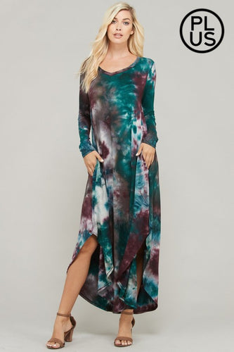 Tie-Dye Knit Maxi Dress  Generous Fit.