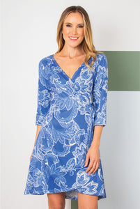 Simply Noelle  Wrap Around Town Dress Blue, Black, & Red