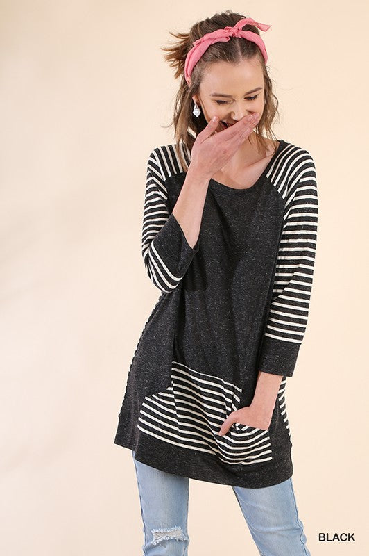 Striped Solid Knit Tunic