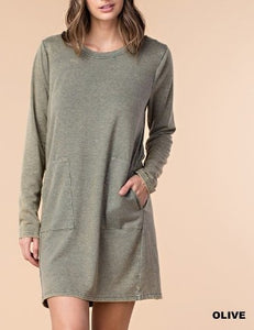 Peek A Boo Back Square Pocket Sweater Dress