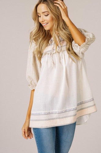 Linen Bunch Sleeve Top