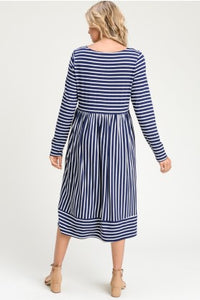 Stripes are in Long Sleeve Striped Midi Dress