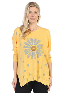 Jess & Jane Tunics  Happy Days Wheat Mineral Washed Rib Sleeve Top