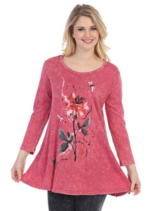Jess & Jane Tunics Fable Story Print Mineral 100% Slub Long Sleeve Tunic Top