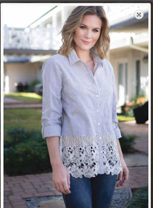 Multiples Clothing - Multiples Stripe Shirt with Embroidery