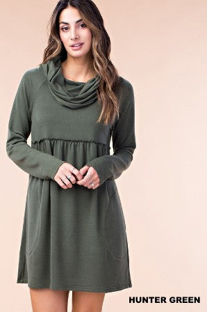 Long Olive Turtle Boxie Dress