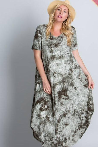 Loose fit V-Neck tie-dye maxi dress