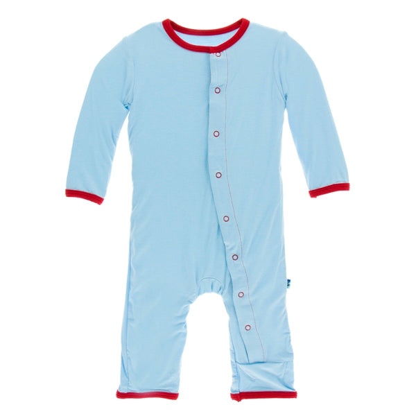 Kickee Pants - Double Decker Applique  Coverall with Zipper