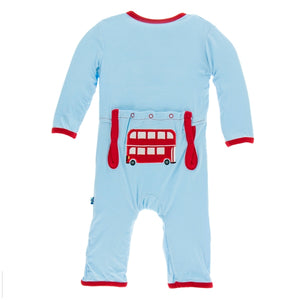 Kickee Pants - Double Decker Applique  Coverall
