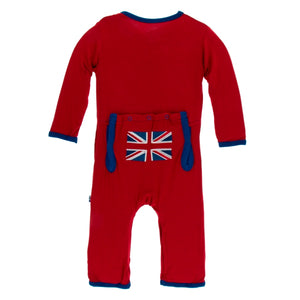 Kickee Pants - Union Jack Applique Coverall with Zipper