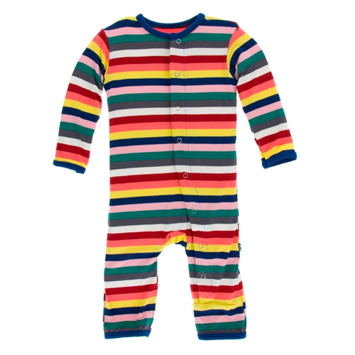 Kickee Pants - Bright London Stripe Coverall with Zipper