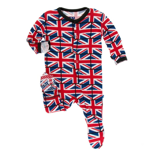 Kickee Pants -Union Jack Footie with Zipper