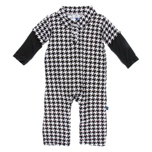 Kickee Pants Zebra Houndstooth Double Layer Polo Romper