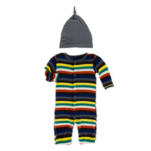 Load image into Gallery viewer, Kickee Pants - Converter & Knot Hat Set Dark London Stripe
