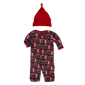 Kickee Pants-Life About Town -Layette Gown Converter & Knot Hat Set