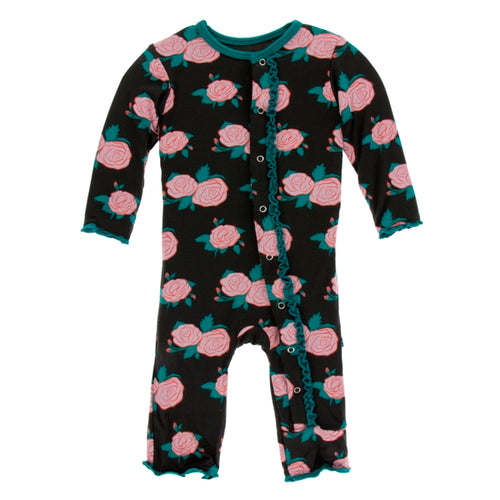 Kickee Pants English Rose Tea Garden Muffin Ruffle Coverall