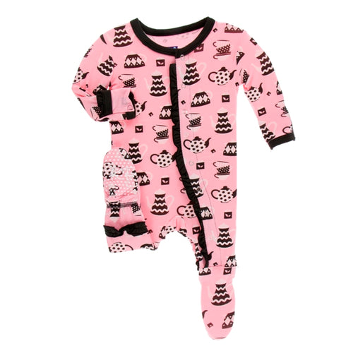 Kickee Pants- Teatime Muffin Ruffle Footie with Zipper