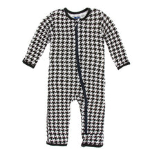 Load image into Gallery viewer, Kickee Pants Zebra Houndstooth Coveralls with Zipper
