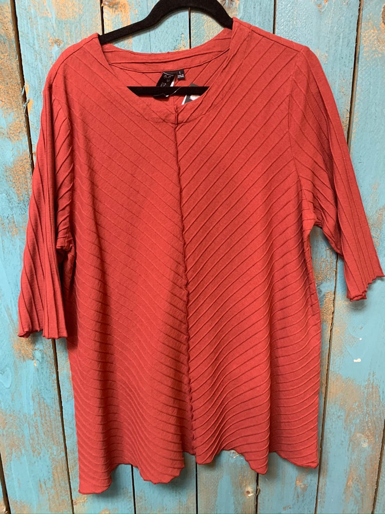 Focus Fashion Rib Textured Tunic in Red