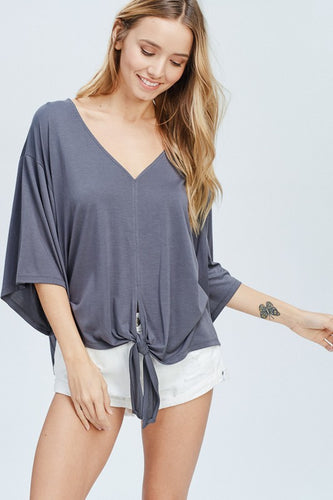 Bamboo Front Knot Tie Top