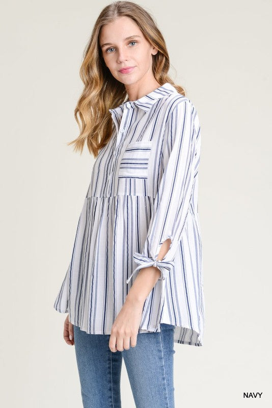 Striped Baby Doll Button Up