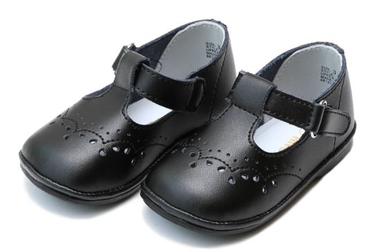 L'Amour Birdie Leather T-Strap Stitched Mary Jane (Baby) Black