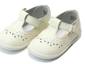 L'Amour Birdie Leather T-Strap Stitched Mary Jane (Baby) Ecru