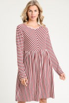 Load image into Gallery viewer, Striped Burgandy and Ivory Dress