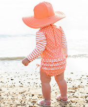 Load image into Gallery viewer, Ruffle Butts Swimsuits Coral Polka One Piece Long Sleeve Rash Guard