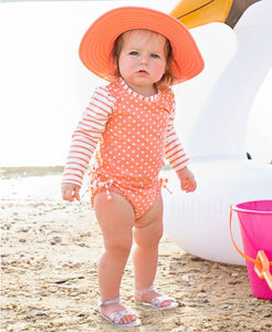 Ruffle Butts Swimsuits Coral Polka One Piece Long Sleeve Rash Guard