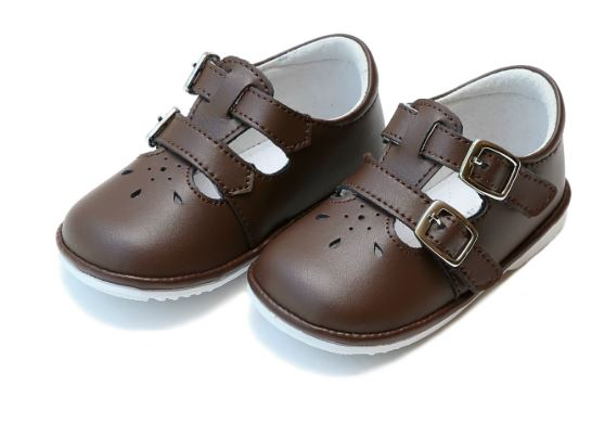 L'Amour Children's Shoes  Hattie Double Buckle Leather Mary Jane (Baby) Brown