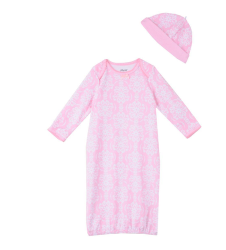 Little Me Damask Gown and Hat