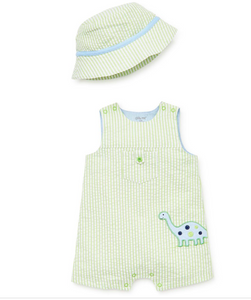 Little Me Dino Sunsuit and Hat