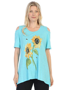 "Jess & Jane  Mineral Washed Cold Shoulder Tunic Top  ""Sunny Garden"""