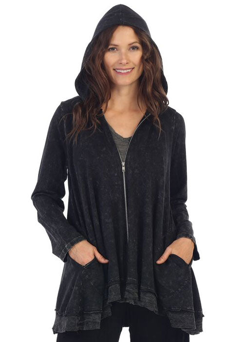 Jess & Jane  Mineral Washed French Terry Hoodie Jacket Black