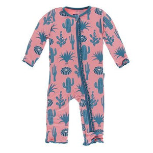 Kickee Pants - Ruffle Coveralls Strawberry Cactus