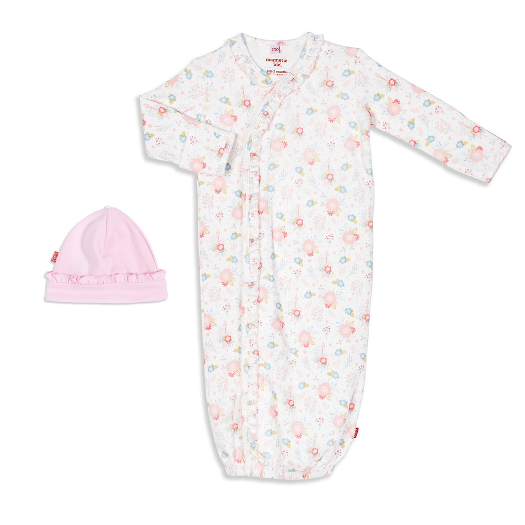 Magnetic Me Nottingham Floral Organic Cotton Magnetic Gown & Hat Set