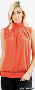 Sleeveless High Neck Pleated Top with Waistband