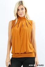 Load image into Gallery viewer, Sleeveless High Neck Pleated Top with Waistband