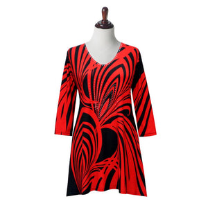 "Tunic  Valentina Signa  ""Swirl"" Print V-Neck Tunic in Red/Black"