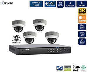 FLIR PoE Home Security Camera System with 8Ch 2TB NVR and (4) 2K HD Outdoor IP Dome Camera
