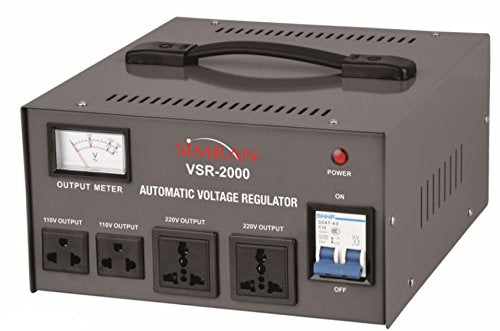Simran 2000 Watt Step Up/Down Voltage Transformer Converter Box with Built-in Voltage Regulator for 110V-240V