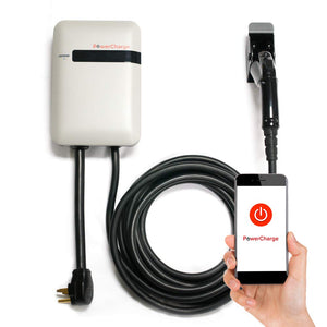 PowerCharge Energy Connect - Electric Vehicle Charging Station - Phone App Control - Plug-in Installation - 25' Cable - 3 yr Warranty - Powerful 32 amp - UL Certified EVSE Charger