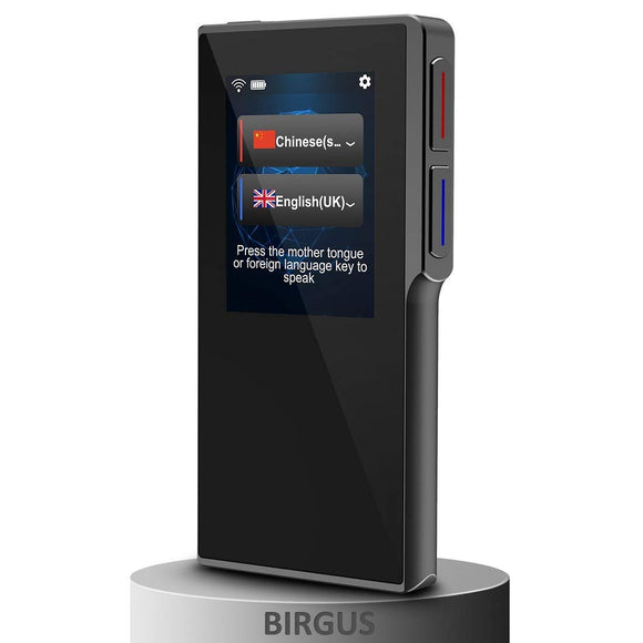 [Upgraded] Birgus Smart Voice Translator Device with 2.4 Inch High Definition Toch Screen Support 82 Languages for Travelling Abroad Learning Off-Line Shopping Business Chat Recording Translations