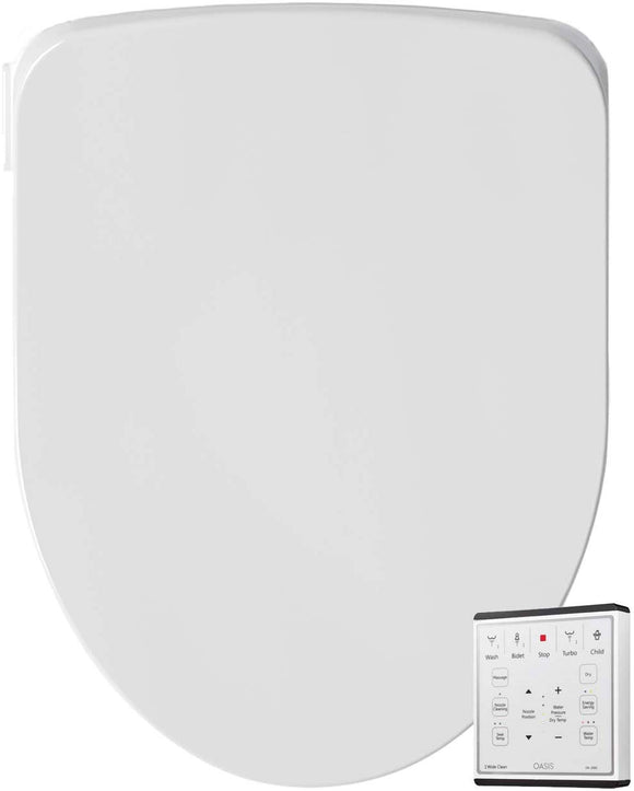 Oasis by Bio Bidet | Bidet Smart Toilet Seat in Round White with Stainless Steel Self-Cleaning Nozzle, Nightlight, Turbo Wash, Oscillating, and Fusion Warm Water Technology with Wireless Remote