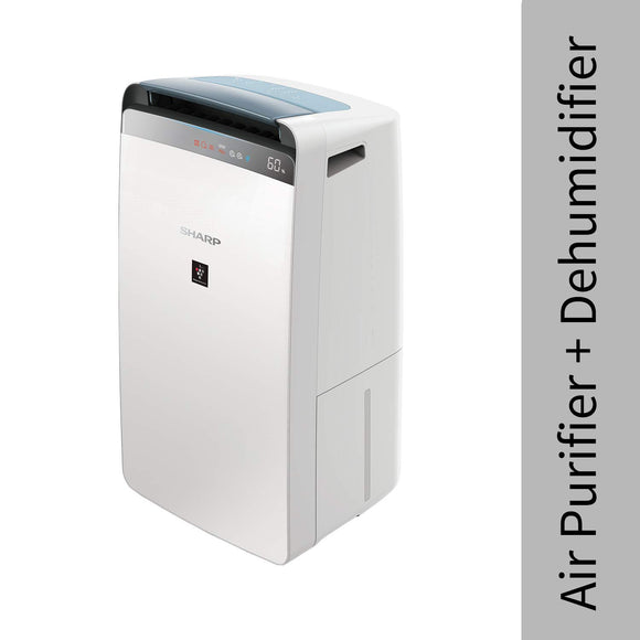 Sharp Air Purifier & Dehumidifier for Homes, Rooms, Offices | Awarded Plasmacluster Tech. | True HEPA H14 (in E1822 type) & Activated Carbon Filter | Auto Dehumidification | PM2.5 Indicator | Model: DW-J20FM-W